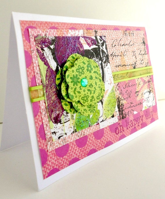 Oh Happy Day Greeting Card, Paper Flower, Lime Green and Pink, Blank Inside, Stamp Embossed, Stripes, Birthday for Her