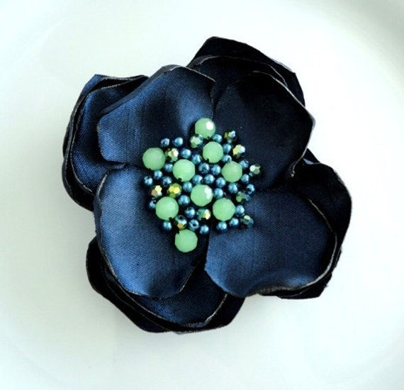 Navy Fabric Flower Pin, Summer Floral Pin, Silk Flower Brooch Women Fabric jewelry, Navy Blue and Lime Green, Beaded Flower Broach Gift