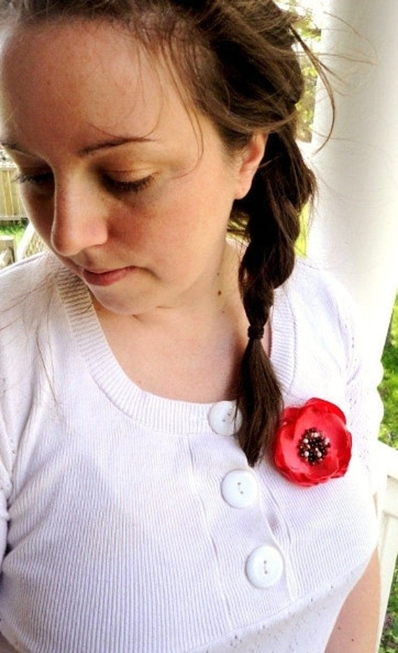 FABRIC FLOWER BROOCH, Beaded, Brown , Coral Red, Layered Petals, Summer Broach Pin, Iridescent, hipster trendy