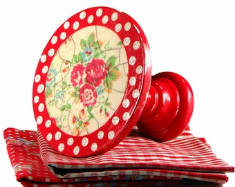 """Cake stand - small - 6"""" - polka dots - roses - red - white - decoupaged - shabby - cupcake pedestal - in decorative box"""
