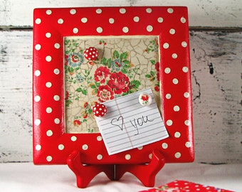 Magnet  - memo - table board - polka dots - roses - red - white - handmade - decoupaged -  with stand - in decorative box