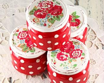 Mason jars painted - set of four -  polka dots -  roses - red -  decoupaged  - shabby - romantic - handmade - in decorative box