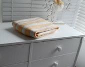 Baby Rug: Merino Wool Organic Stripes & Pom-Poms in Buttercup/Merino - Luxury Soft Furnishing for  Nursery-Boy or Girl