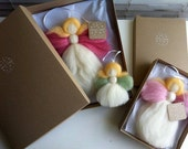 Nursery Decor - Guardian Angel Decoration - Merino Wool -  Rose Pink - Luxury Gift Box - Gift for Girl - MerinoAngel