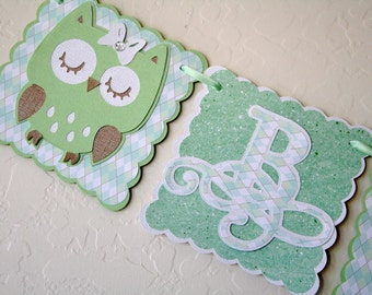 Owl Baby Shower Banner - 1 row, New Baby, Party Decoration, Green and White, Owls