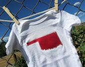 Crimson / Red Oklahoma on White Onsie, Perfect for Sooner Babies