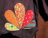 6-9M Turkey Day Outfit for your Little Turkey. Long sleeved, brown onesie with stitched applique