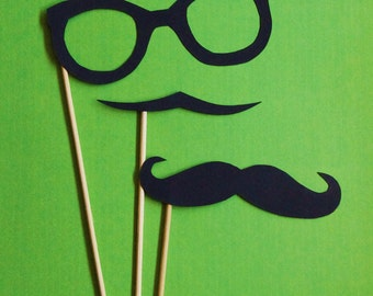 Eye Glasses and Mustaches combo on a Stick-Little Man Party-Mustache Party-Mustache on a stick-Photo Props-Photo Booth-Wedding Props