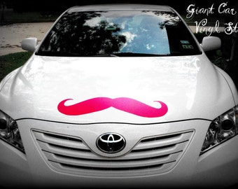 Giant Mustache Vinyl Decal-Little Man Party-Mustache Party-Mustache sticker-Car Decal-The Handlebar - HOT PINK mustache-Wall decor