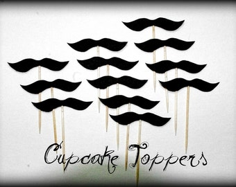 12 Mustache Cupcake Toppers- Mustache on a Stick-Gender Reveal Party-The Wise Guy-Little Man Party-Baby Shower-Mustache party-Birthday Party