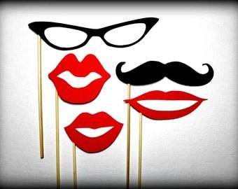 Photo Prop Set - Lips Glasses Mustache on a Stick-Little Man Party-Mustaches on a stick-Party Props-Photo Booth-Lips on a stick-Glasses
