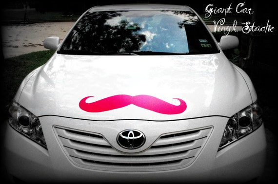 Giant Mustache Vinyl Decal-Little Man Party-Mustache Party-Mustache sticker-Car Decal-The Handlebar - HOT PINK mustache-Wall decor