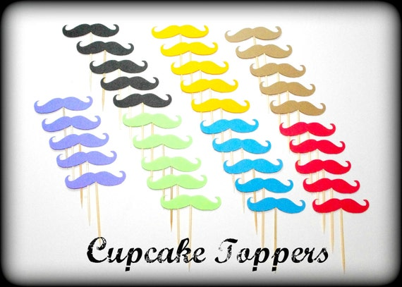 35 Mustache Cupcake Toppers-Mustache on a Stick-Moustache-Little Man Party-Photo Props-Mustache party-baby showerThe Handlebar