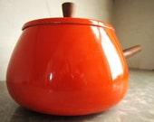 Orange Fondue Pot with Teak Wood Handle