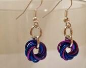 Dark Blue and Purple Rosette Earrings