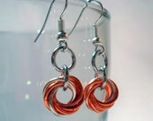 Peach and Silver Mobius Earrings