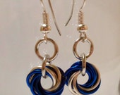 Blue and Silver Mobius Earrings