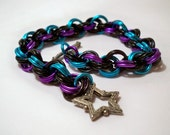 Black Purple and Blue Double Spiral Chainmaille Bracelet