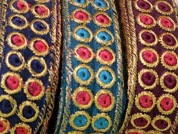 3 yards Embroidery Ribbon border combo