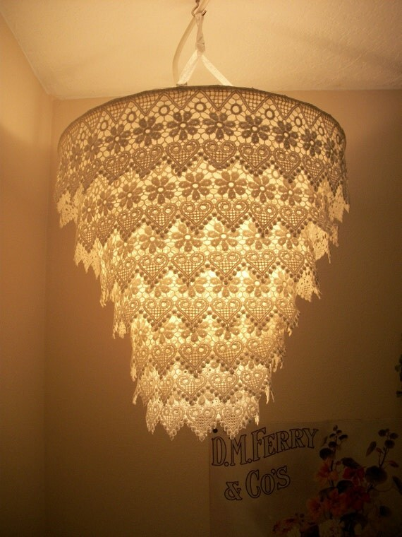 Venise Lace Faux Chandelier Pendant Lamp Shade By Cokiethebaby