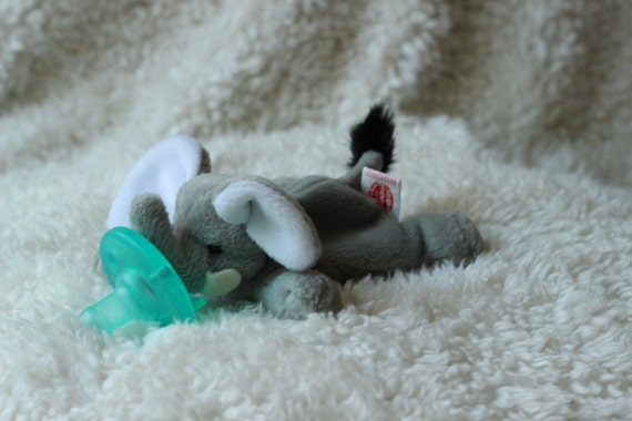 mini elephant beanie baby pacifier soothie gumdrop animal pacimal - you choose the pacifier