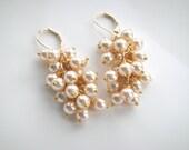 Gold Dangle Earrings Bridesmaids Jewelry Bridesmaids Earrings Wedding Jewelry Bridal Jewelry Pearl Earrings Gold Jewelry Diamond Earrings