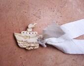Silver white choker necklace - rustic boat on silver silk ribbon - ceramic handmade