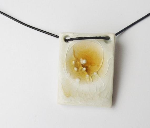 White and honey chocker necklace handmade ceramic