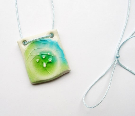 Long green and blue summer necklace - Handmade ceramic