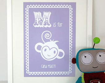 Personalised Childrens Artwork,  Baby Artwork, Personalised Baby Print, Art Print, Baby Name Print - M is for Monkey (and child's name)