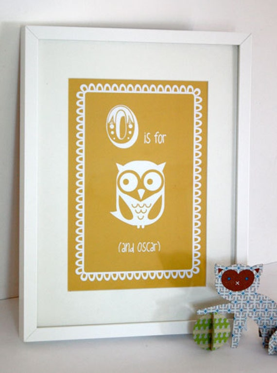 Personalised Childrens Artwork, Baby Artwork, Personalised Baby Print, Art Print, Baby Name Print - O is for Owl (and child's name)