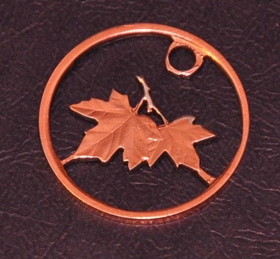 2006 Canada penny  - cut coin charm - Maple leafs - Les Feuilles d Erable