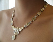 Golden and White Floral Victorian Rhinestone Necklace Earrings Wedding/Bridal Jewelry set