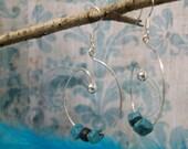 sterling dangle hoop earrings w/ black & turquoise beads.  MJ347/G013