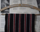 Vintage Collage Striped Hand Woven Wool Scarf- In Black, Red and White.