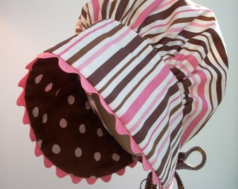Toddler Girl Bonnet - Pink and Brown Stripes