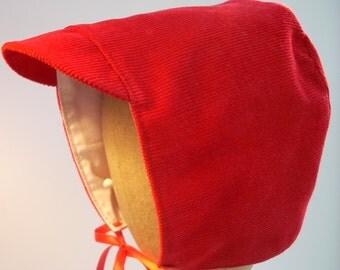 Winter Baby Boy Hat - Red Corduroy