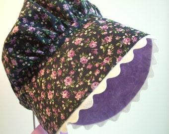 Toddler Girl Bonnet  Lavender Floral White Rickrack Trim