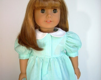 "Gingham Dress fits 18"" Doll like American Girl"