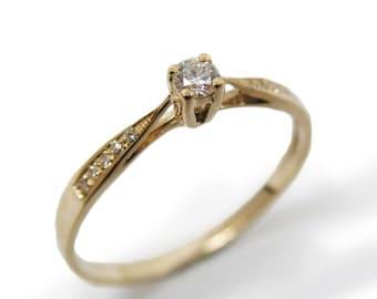 Engagement Ring- Yellow gold & Diamonds (r-9865xc). anniversary gift, romantic birthday gift