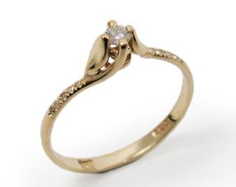Engagement Ring- Yellow gold & Diamonds (r-13036xc). romantic anniversary gift