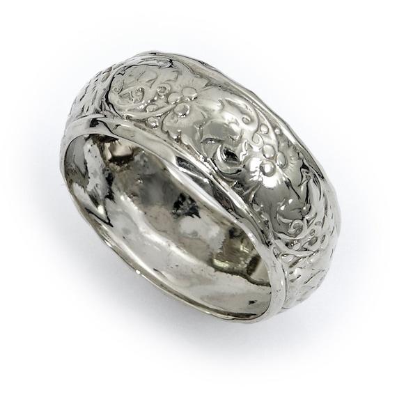 Domed wedding ring. White gold wedding ring. Floral wedding ring. Wide wedding ring.  14k white gold domed flower wedding ring.(gr-9159-894)