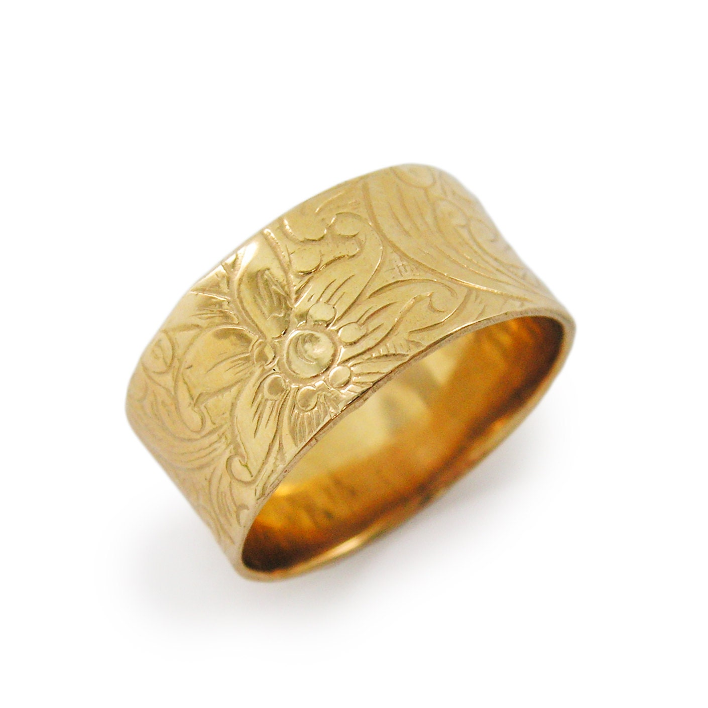 Floral Bands: Gold Wedding Band. Floral Wedding Band. Wide Wedding Band