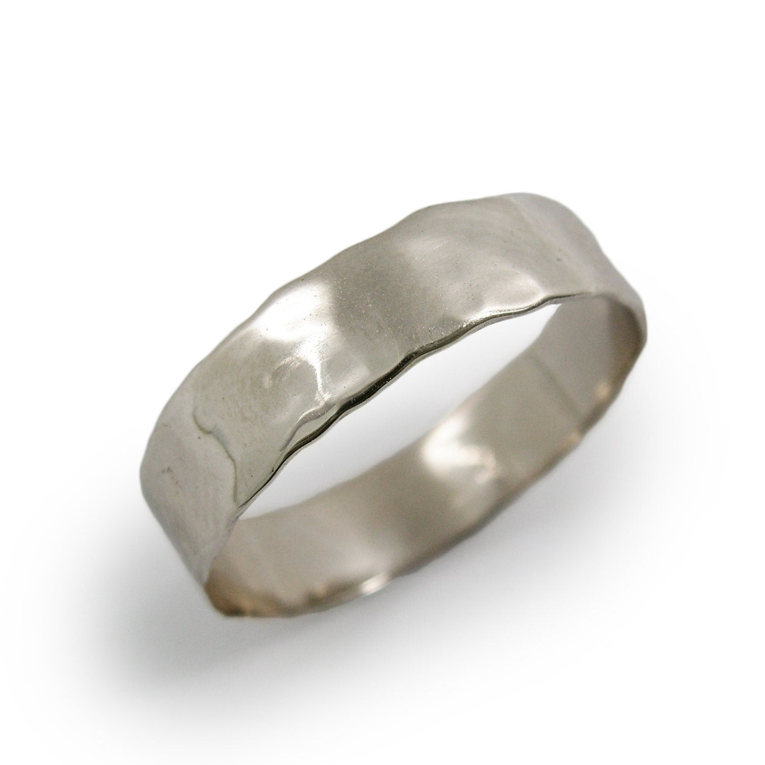 white gold ring 14k white gold thin hammered by kaijewelry585
