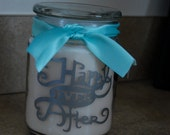 Happily Ever After personalized scented glass candle -great for weddings and bridal showers