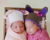 Easter Lamb and Bunny Girl Twin Beanie Set -can be sold separately