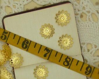 30 brass filigree domed  bead caps 20 mm x 5 mm deep