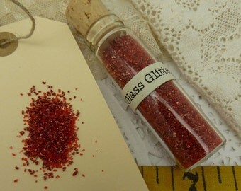 1 -1/2 oz german glass  glitter red in glass corked vial-  fine