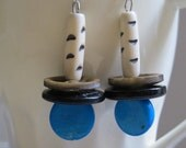 Turquoise and black funky earrings