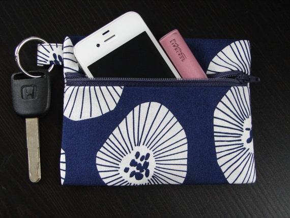 Navy Keychain Wallet in Lotta Jansdotter Echo